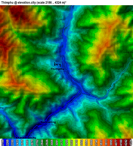 Zoom OUT 2x Thimphu, Bhutan elevation map