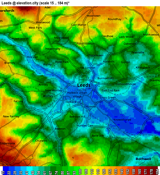 Zoom OUT 2x Leeds, United Kingdom elevation map