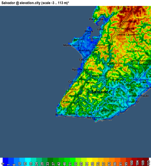 Zoom OUT 2x Salvador, Brazil elevation map