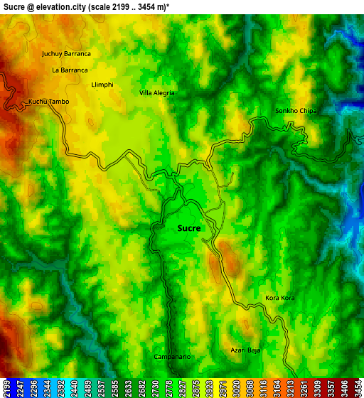 Zoom OUT 2x Sucre, Bolivia elevation map