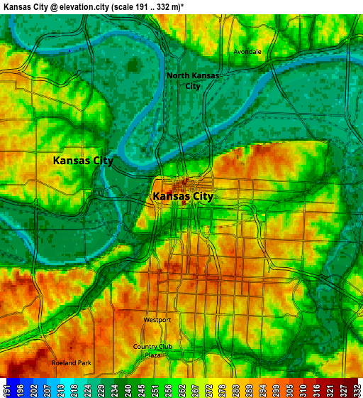 Zoom OUT 2x Kansas City, United States elevation map