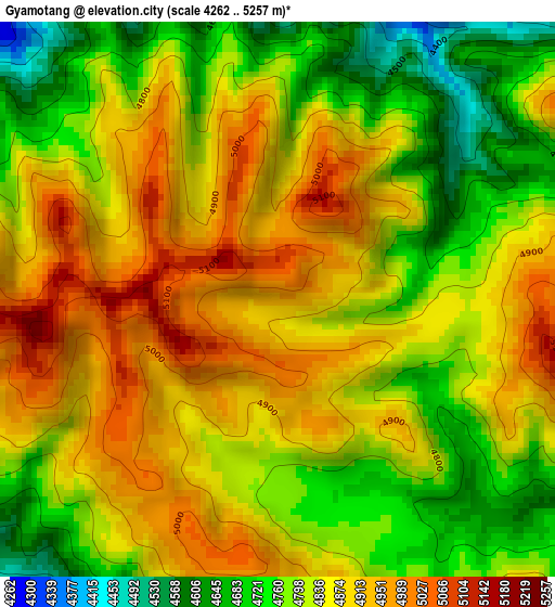 Gyamotang elevation map