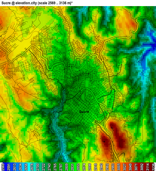 Sucre elevation map