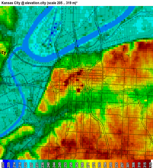 Kansas City elevation map