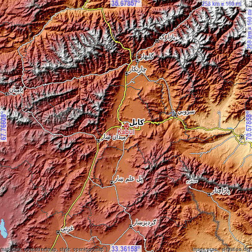 Topographic map of Kabul