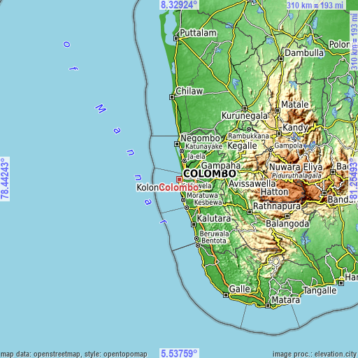 Topographic map of Colombo