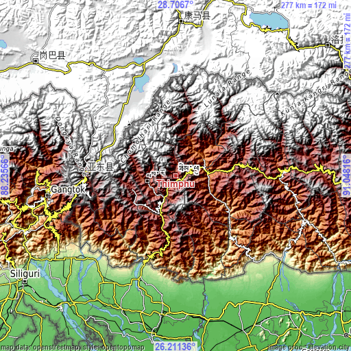 Topographic map of Thimphu