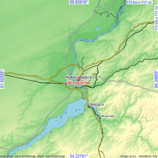 Topographic map of Novosibirsk
