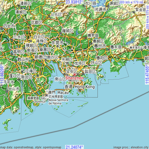 Topographic map of Shenzhen
