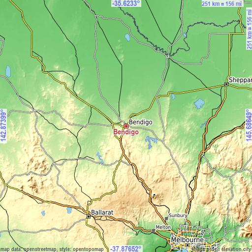 Topographic map of Bendigo