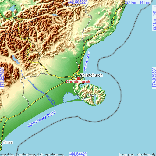 Topographic map of Christchurch