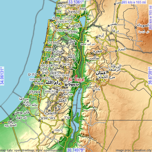 Topographic map of Al 'Awjā