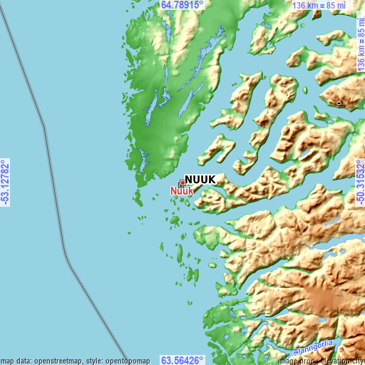 Topographic map of Nuuk