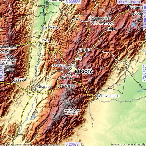 Topographic map of Bogotá