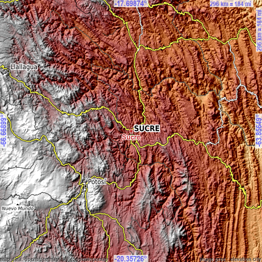 Topographic map of Sucre