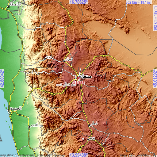 Topographic map of Sanaa
