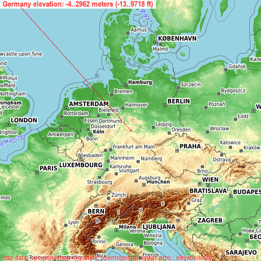 Germany on topographic map