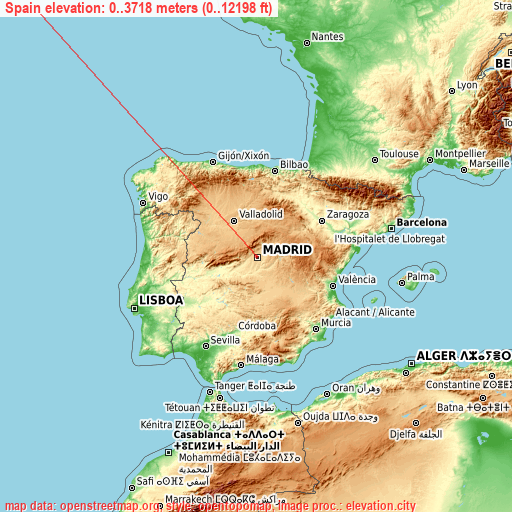 Spain on topographic map