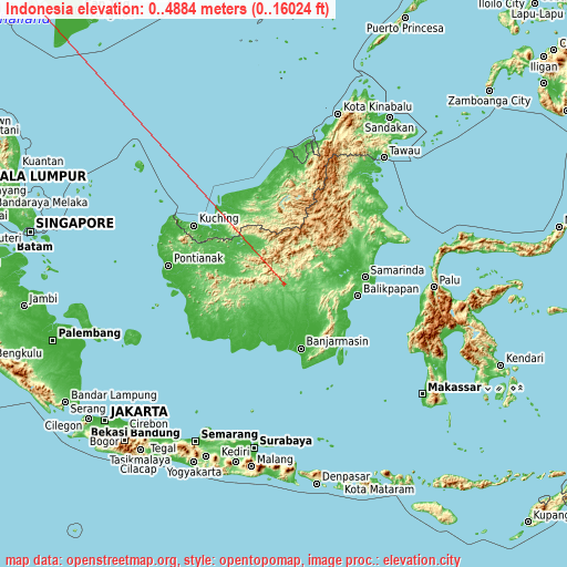 Indonesia on topographic map