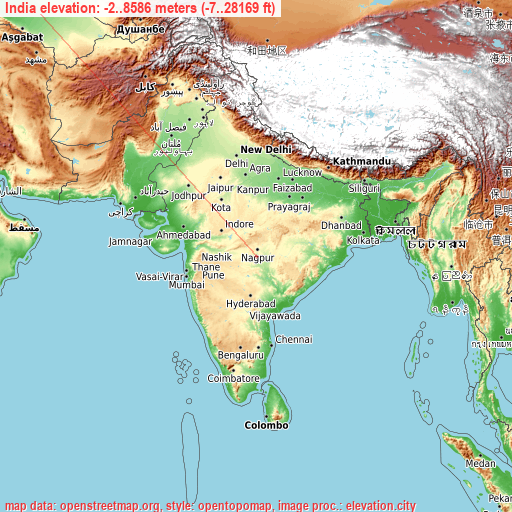 India on topographic map