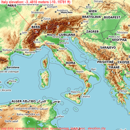 Italy on topographic map